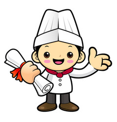 happy chef character receive a certificate of vector image