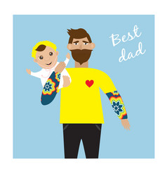 happy fathers day greeting card with dad holding vector image