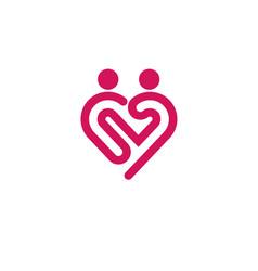 Heart icon logo relations symbol vector