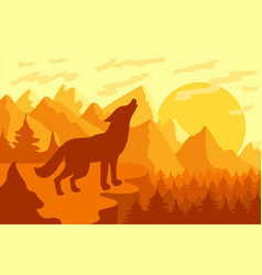 Howling at moon wild wolf vector