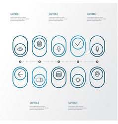 interface icons line style set with map pin goal vector image