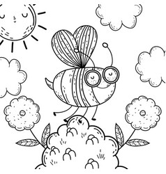 isolated bee draw cartoon design vector image