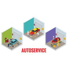 isometric car repair maintenance autoservice vector image