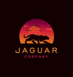 Jaguar with sunset logo design vector