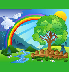landscape with rainbow and tree vector image
