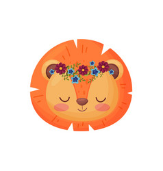 Lion with flower wreath flora and fauna concept vector