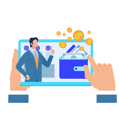 male hands holding tablet with business advisor vector image