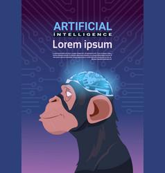 Monkey head with modern cyborg brain over circuit vector