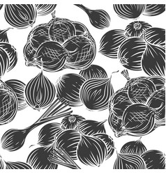 Onion bulbs leek seamless pattern monochrome vector