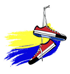 Pair red sports sneakers hand-drawn hang on vector
