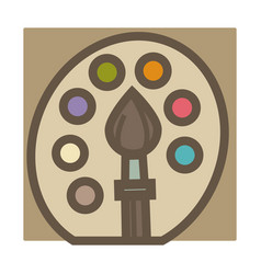 palette and paintbrush artist equipment painting vector image