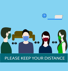People wearing medical masks for safety flat vector