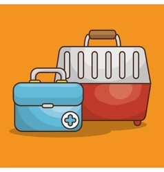 Pet box transport icon vector