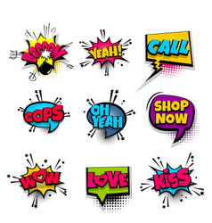 pop art phrase comic text set vector image