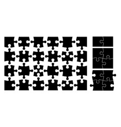 puzzle pieces isolated black jigsaw element flat vector image