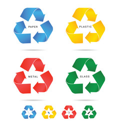 recycle icon for paper plastic and metal set vector image