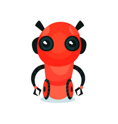 red cute friendly robot on wheels artificial vector image