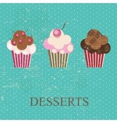 Retro vintage grunge style dessert menu vector image