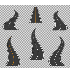 Road icons footpath bending and high ways road vector