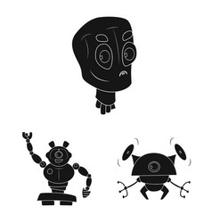 robot and factory icon set vector image