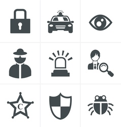 Security icon set on white background vector image