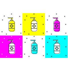 Set bottle liquid antibacterial soap vector