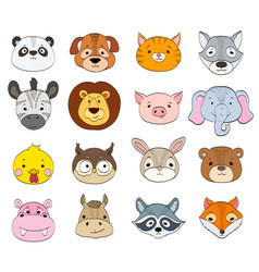 Set of cartoon animal faces on white baby animals vector