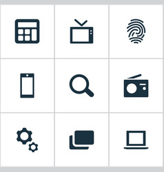 set of simple technology icons vector image