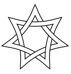 seven pointed star with braided sides star vector image