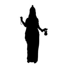 Silhouette of indian goddess brahmacharini happy vector