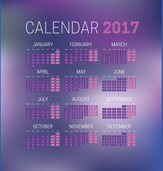 simple 2017 calendar with blurred background week vector image