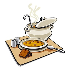 soup with bread vector image