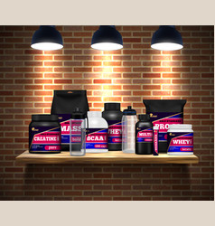 Sport nutrition packages realistic vector