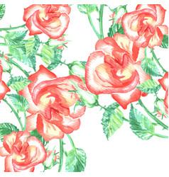 spring romantic red roses background and green vector image