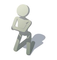 Stick man kneeling icon isometric style vector