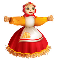 straw stuffed woman for russian holiday maslenitsa vector image
