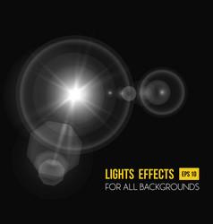 sunbeam shining through lens sun light effect vector image
