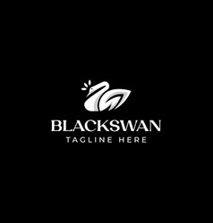 swan with leaf logo template in isolated black vector image