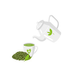 teapot mug of green tea and leaf tea set vector image
