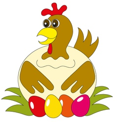 The hen with eggs vector