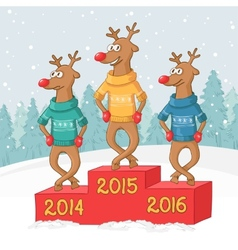 three deer on a pedestal Winter forest landscape vector image