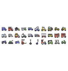 Transportation related icon set 2 filled style vector