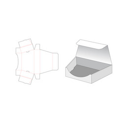 Trapezoid shaped packaging box gift box die cut vector