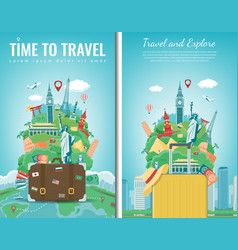 Travel composition with famous world landmarks vector