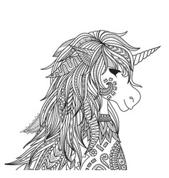 unicorn head vector image