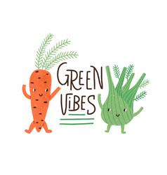 vegan and vegetarian food concept sticker vector image