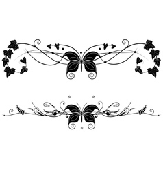 Vignette set with butterfly vector