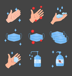 virus protection icons washing hands face mask vector image