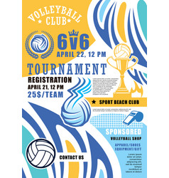 Volleyball sport game poster vector