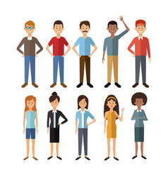 white background with full body group people of vector image